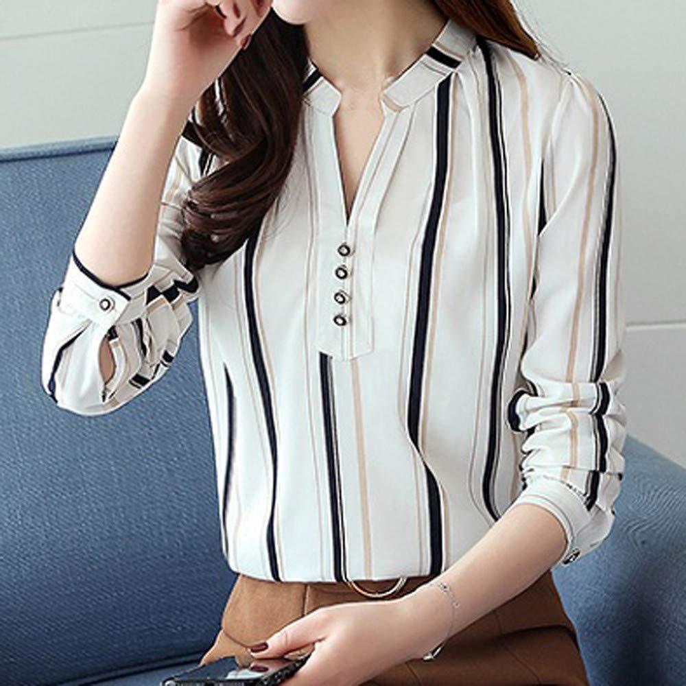 Amazon.com: Gyoume - Camisas de mujer con diseño de rayas ...