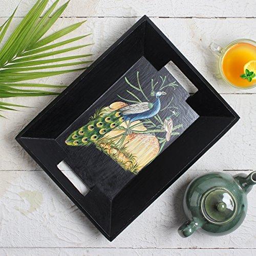 Tienda Indya Bandeja de madera decorativa pintada a mano Bandeja de postre de té Serpiente Fiestas Serveware Dining Accesorio (Negro): Amazon.es: Hogar
