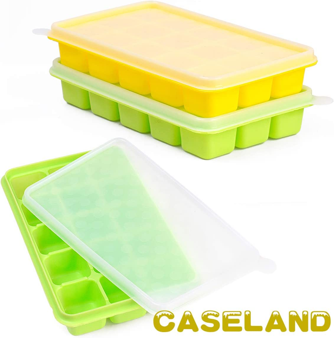 Ice Cube Trays CASELAND Easy Release 2 Pack Silicone 15 Ice Trays