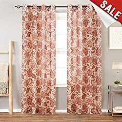 Floral Scroll Printed Linen Curtains Grommet Top - Ikat Flax Textured Medallion Design Jacobean Floral Printed Retro Bedroom Window Curtains 63 Inches Long (Poppy Red, 1 Pair)