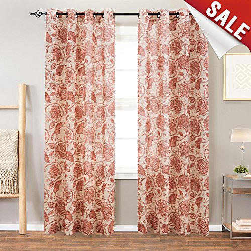 Red Floral Curtains - Floral Scroll Printed Linen Curtains,Grommet Top - Ikat Flax Textured Medallion Design Retro Kitchen Window Curtains (Poppy Red, 50-by-63 Inch, One Pair)