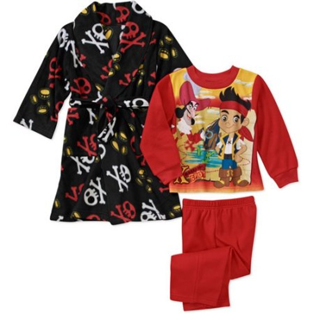 Disney Jake and The Never Land Pirates Boy 3 PC Bath Robe Pajama Set Size 4T