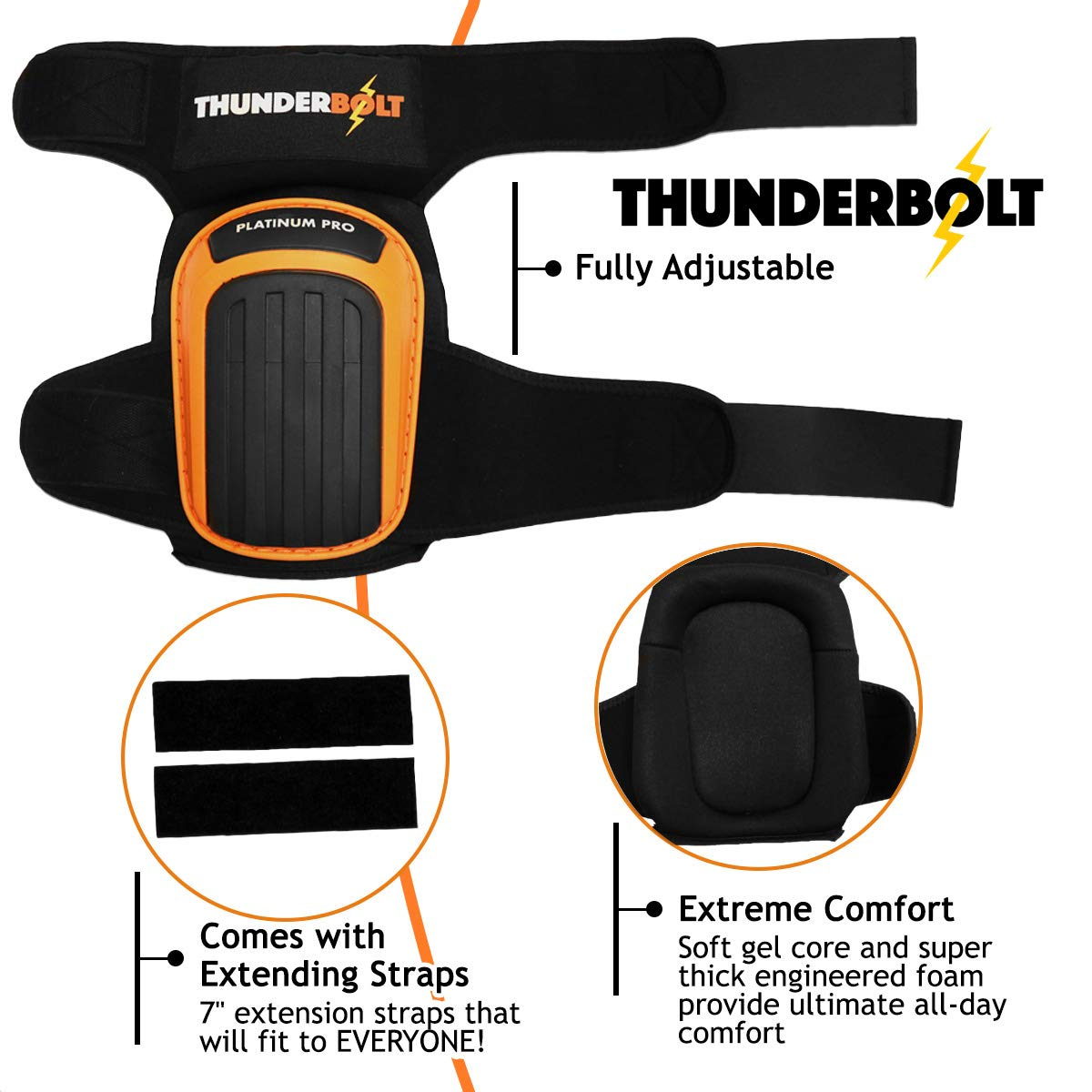 Knee Pads for Work by Thunderbolt with Heavy Duty Foam Cushioning and Gel Cushion Perfect for Construction, Flooring and Gardening with Adjustable Anti-Slip Straps by Thunderbolt (Image #5)