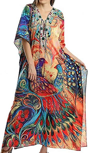HAPPY BAY Womens Maxi Kaftan Swimsuit Cover Ups Sleep Casual Dress Drawstring