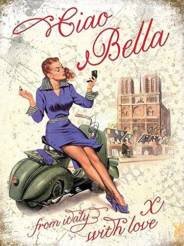CIA Bella Vespa Metal esmaltado werbungs Cartel, Klein 200mm ...