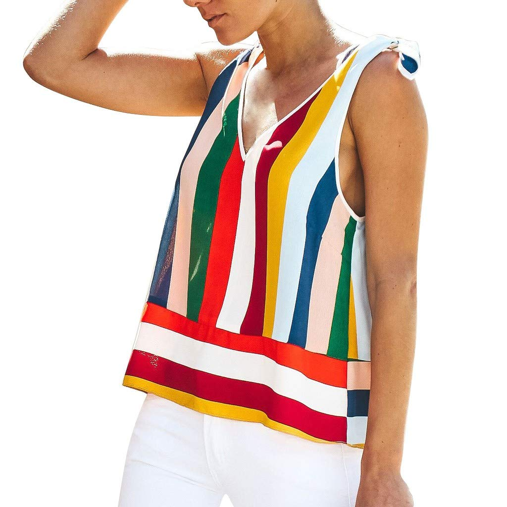 2019 Womens Summer V Neck Vest Sleeveless Stripe Bow Casual Tank Tops T-Shirts (Multicolor, L)