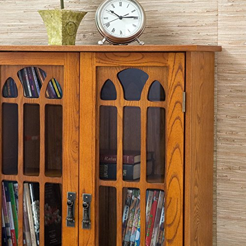 Window Pane Media Cabinet - Oak (Barrister Bookcase)