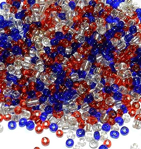 (Bead Jewelry Making Patriotic Red, White & Blue USA Silver Lined Glass Seed Bead Mix 1oz)