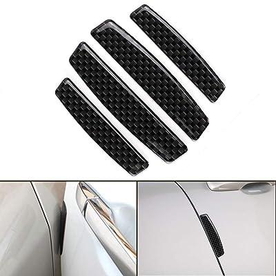 ZaCoo 4pcs Car Door Edge Guards Carbon Fiber Texture Auto Door Bumper Guard Anti-Scratch Protector Trim Sticker: Automotive