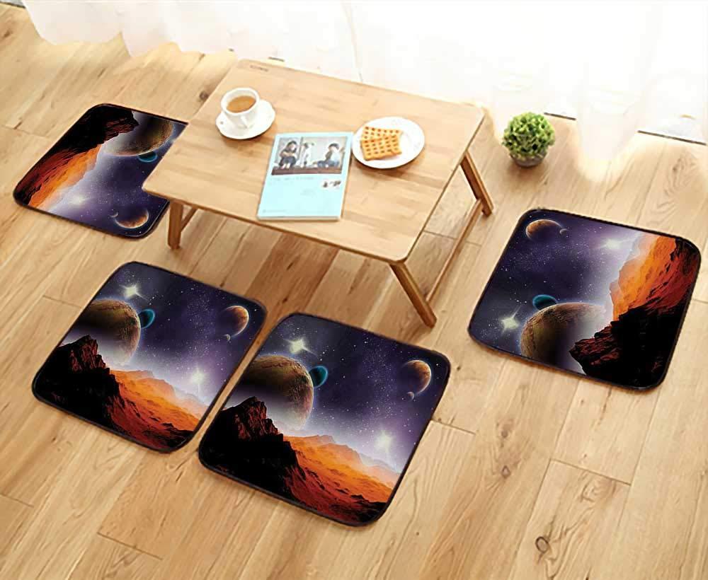 Leighhome Simple Modern Chair Cushions Cosmos Fantasy Decor Solar Sky Nebula Orbit Comet Horizon System Reusable Water wash W27.5 x L27.5/4PCS Set