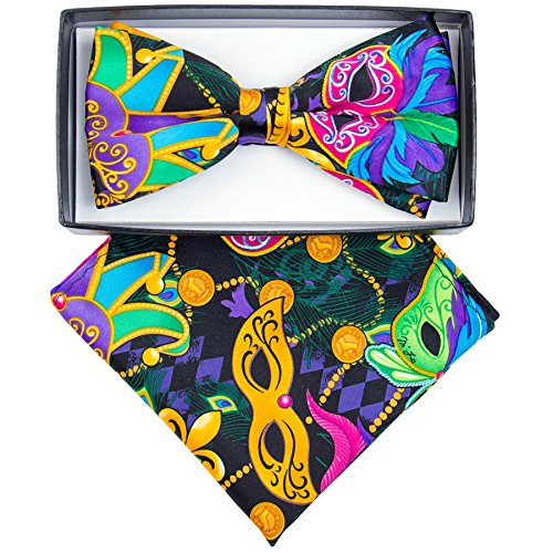 Mardi Gras Bow (Mardi Gras Colorful Masquerade Mask Printed Bow Tie and Handkerchief Set)