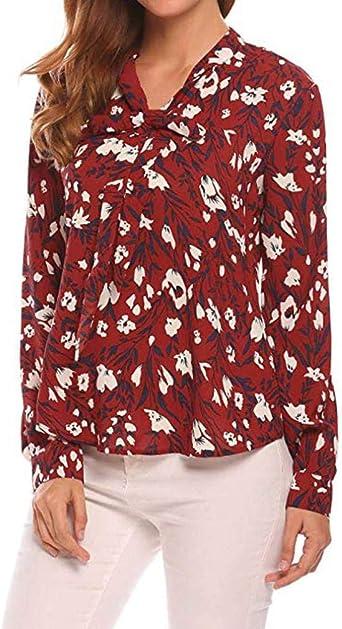 Moonuy Mujeres Gran Talla Top Túnica Manga Larga Camisa Elégant – Camiseta con Estampado de Flores Mujer Flor Alta Mujer Mango Corto Túnica Chic Casual T décontracté Imprimé Rojo Rojo XL: Amazon.es: