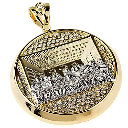 Bling Cartel Iced Last Supper Pendant Gold Finish with Silver 2-Tone Charm Huge 4 Inch Round Hip Hop Medallion