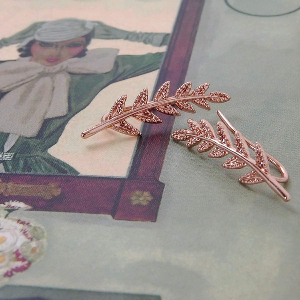 Humble Chic NY Oreille Feuilles Minuscules Grimpeurs D/élicate Sur Chenilles Manchette Boucles Doreilles Veste Pour Les Femmes