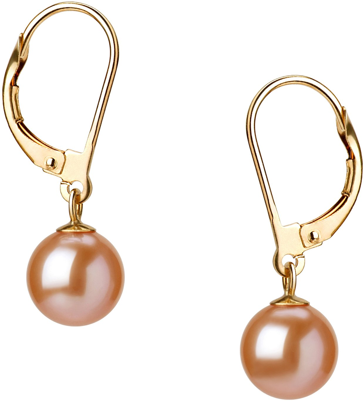 PearlsOnly - Marcella Pink 7-8mm AAAA Quality Freshwater Cultured Pearl Earring Pair