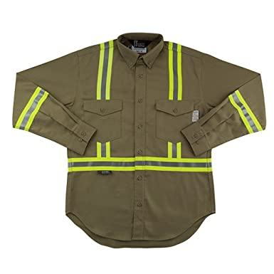 a85002d17f88 Amazon.com  Flame Resistant FR Reflective Button Shirt  Clothing