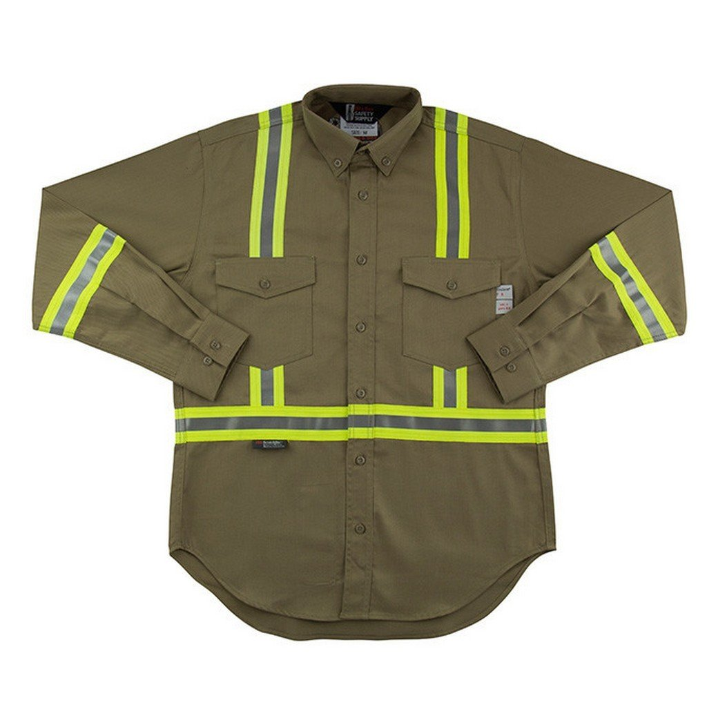 Oil and Gas Safety Supply Men's FR Reflective Button Down 2XLT Khaki