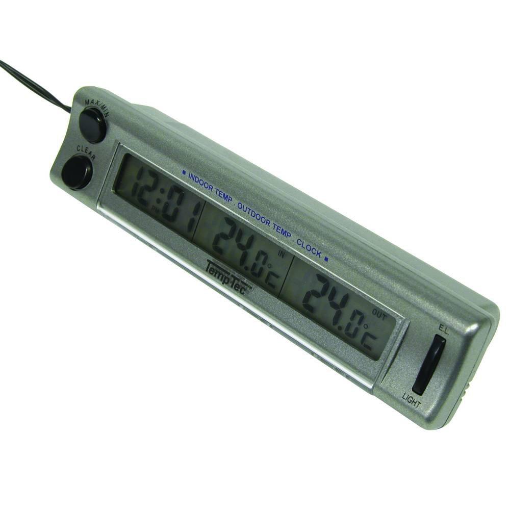 CarPoint 1110003 Thermom/ètre Int/érieur//Ext/érieur avec Horloge