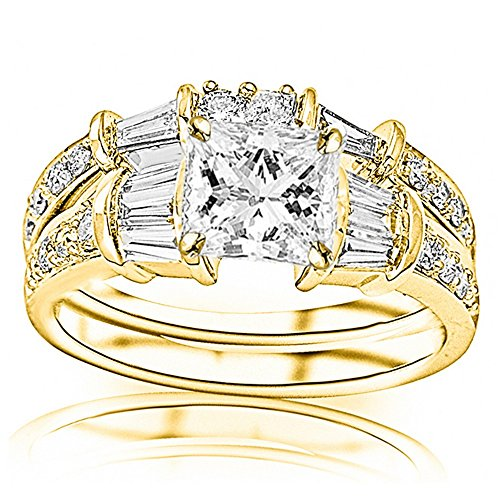 Brilliant Diamond Round Baguette Band (14K Yellow Gold 1.2 CTW Princess Cut Baguette And Round Brilliant Diamond Engagement Ring and Wedding Band Set, D-E Color VS1-VS2 Clarity 0.37 Ct Center)