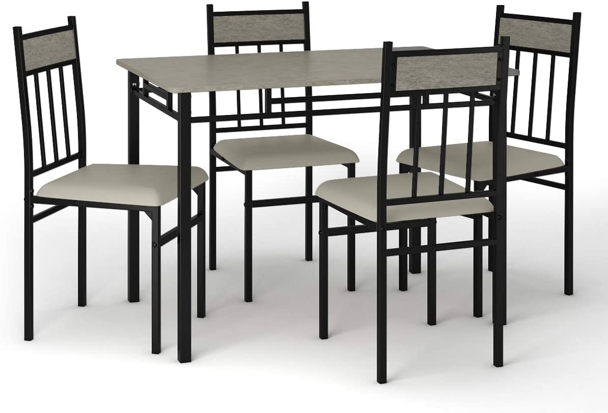 Tangkula 5 Piece Kitchen Dining Table Set, Modern Table and Chairs Set Include One Rectangular Table and Four High-Back Chairs, Metal Frame Padded Seat, Faux Marble Table Top Grey