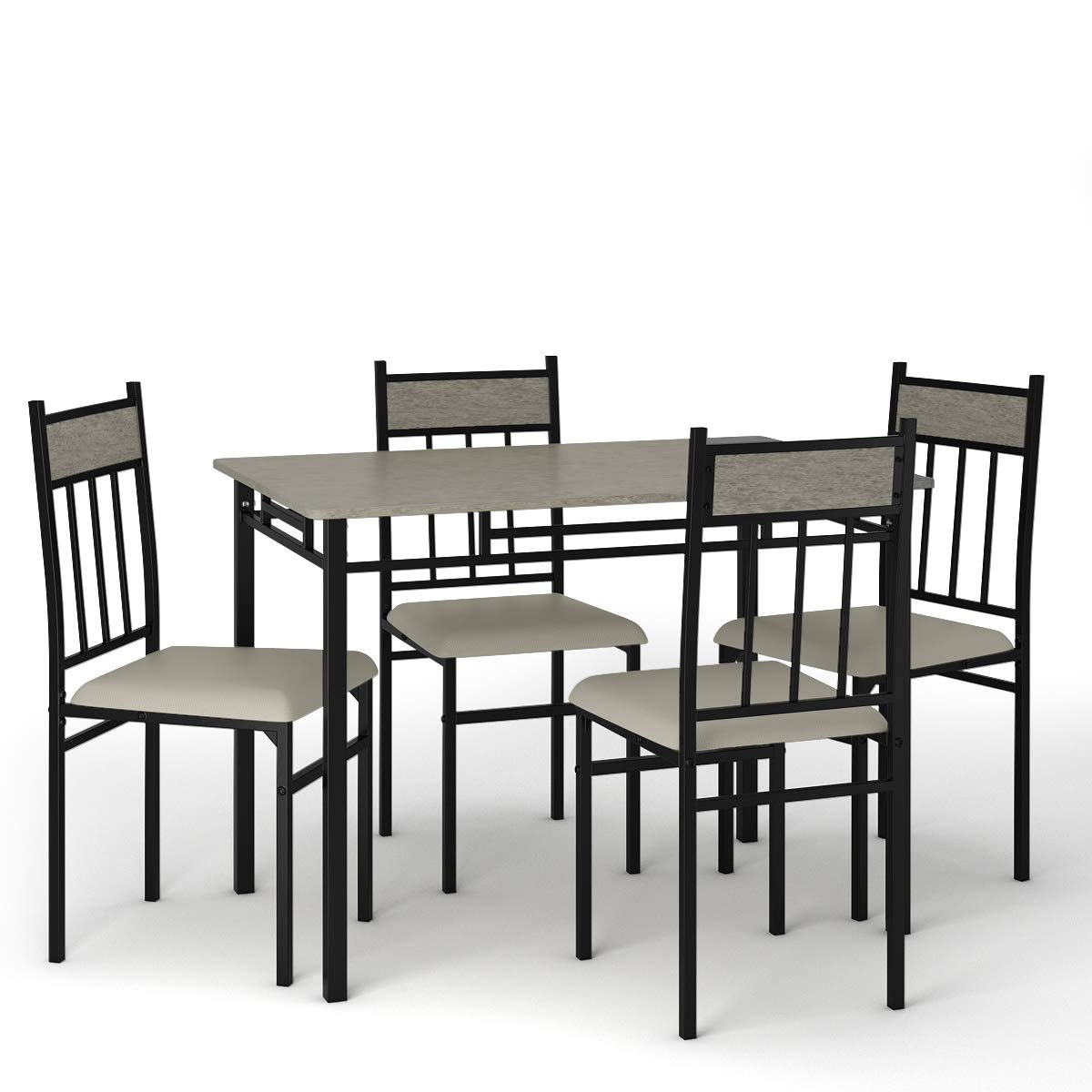 Tangkula 5 Piece Kitchen Dining Table Set, Modern Table and Chairs Set Include One Rectangular Table and Four High-Back Chairs, Metal Frame & Padded Seat, Faux Marble Table Top (Grey) by Tangkula