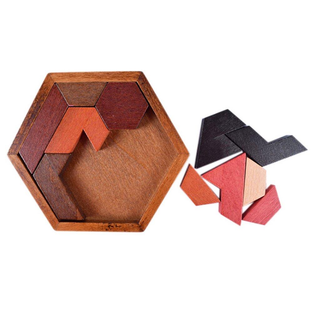 Sungpunet Hölzernes Hexagon-Puzzle-Puzzlespiel Spiel für Kinder und Erwachsene Klassisches Handgehirn-Teaser-Logik-Puzzlespiel spielt