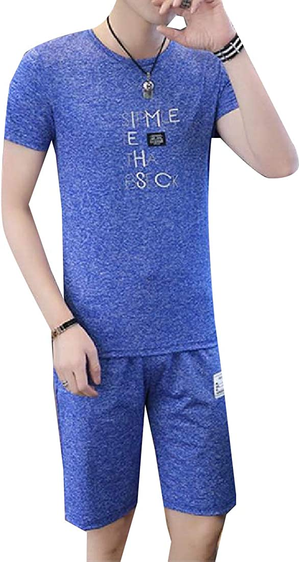 AngelSpace Mens Slim Fit Sports Summer 2-Piece Letter Printed Tracksuit Set