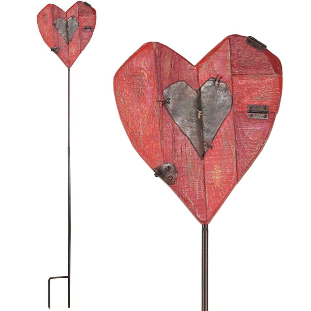 Double Heart Red and Brown Barnside Look 32 inch Metal and Resin Stone 3 Piece Yard Stake