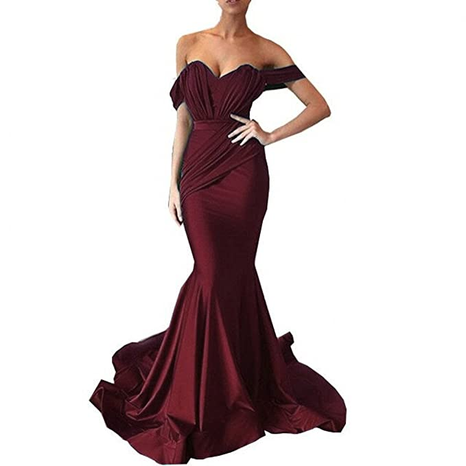 Amazon.com: Irisdress Womens Off The Shoulder Pleat Satin Mermaid Evening Dresses Formal Party Dress: Clothing