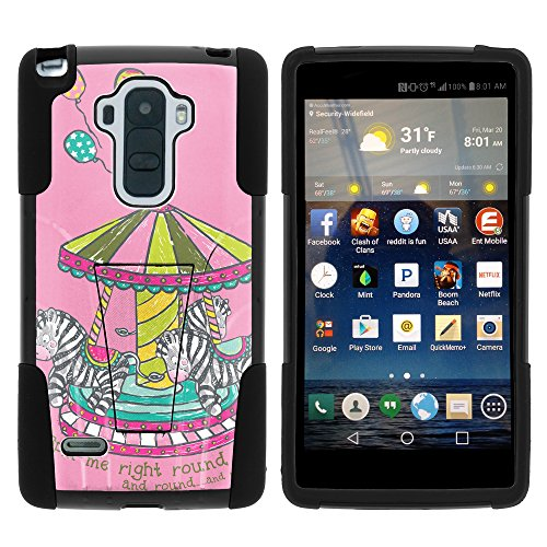LG Stylo Case, Full Body Fusion STRIKE Impact Kickstand Case with Exclusive Illustrations for LG G Stylo LS770, LG G4 Stylus (T Mobile, Boost Mobile, Sprint) from MINITURTLE | Includes Clear Screen Protector and Stylus Pen - Zebra Merry Go Round