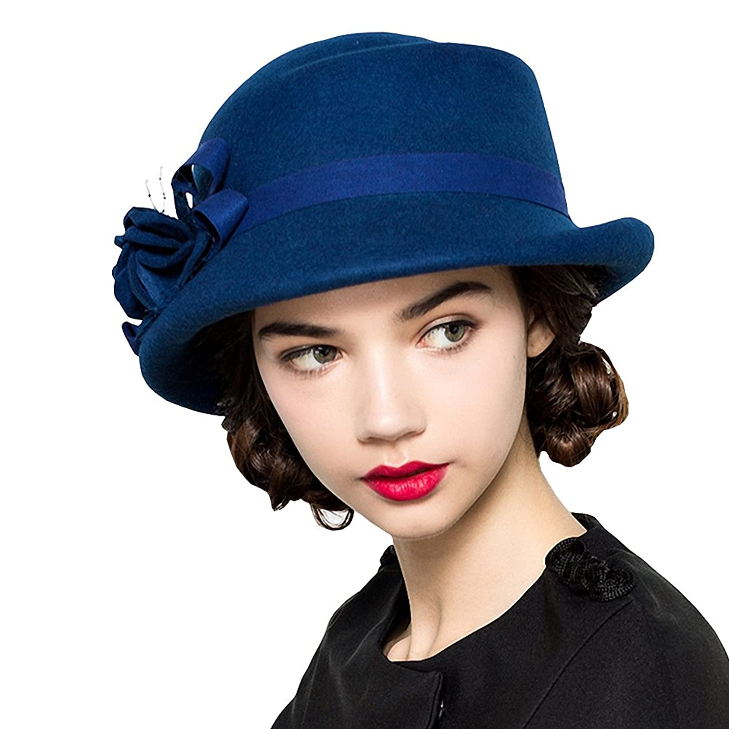 Edwardian Hats, Titanic Hats, Tea Party Hats Maitose® Womens Wool Felt Flowers Church Bowler Hats $33.00 AT vintagedancer.com