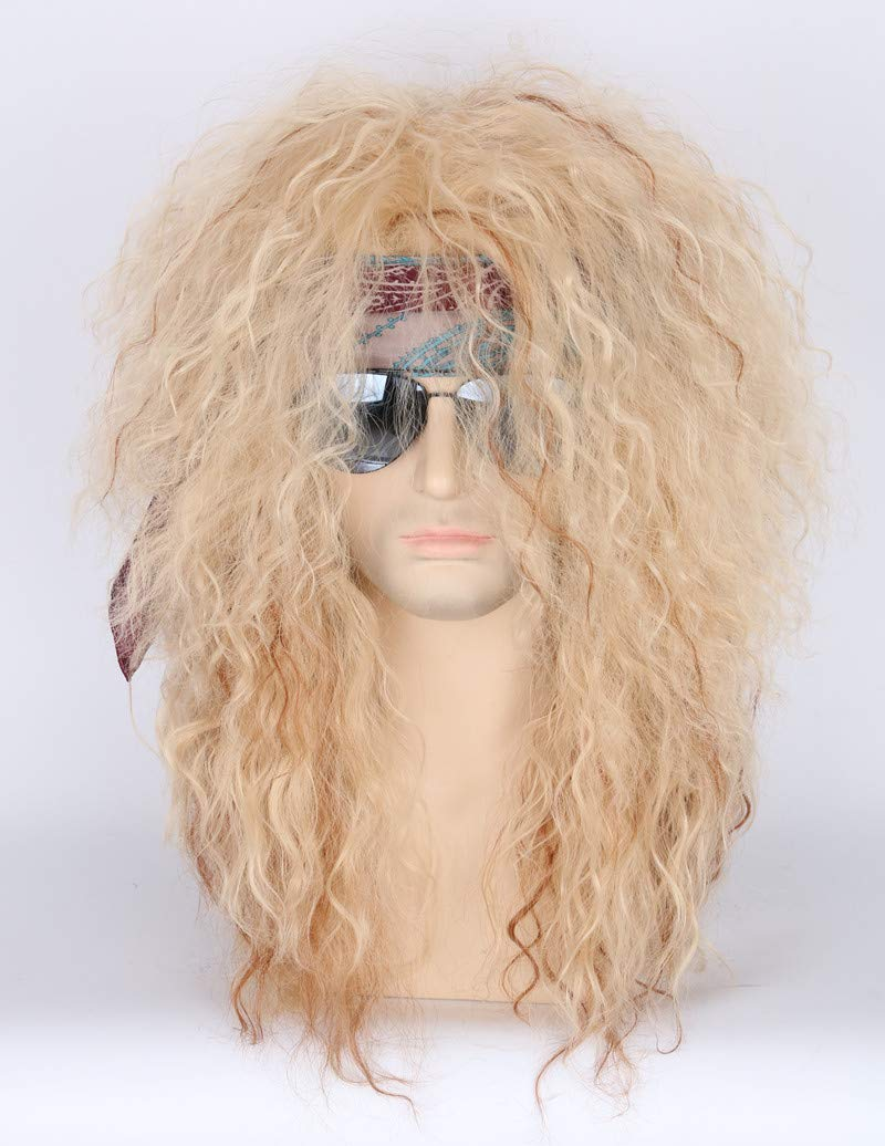 Men or Women 80s Clothes Fashion Wig Rocker Mullet Metal Halloween Costume Wig Blonde Curly by Toposplay