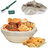 """Round Bread Proofing Basket,OAMCEG 10"""" Banneton Proofing Basket & Bread Lame Set,Sourdough Proofing Basket Set with Cloth Liner"""