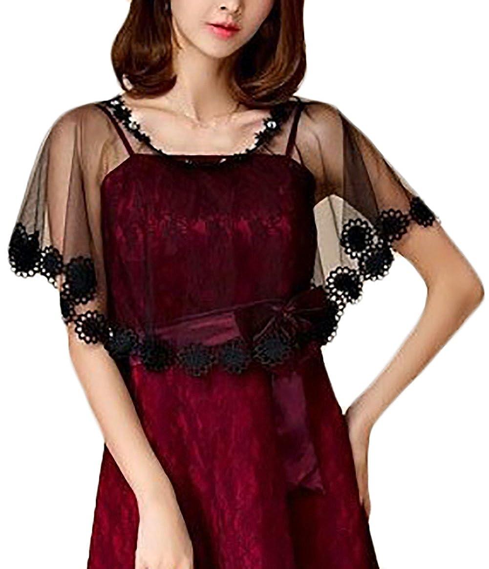 Donna Stola Cerimonia Elegante Vintage Trasparente Ragazza Abbigliamento  Fashionable Tulle Mantello Poncho Top Per Abiti Da Sposa Festa Banchetto  (Color ... 55211f9eb85
