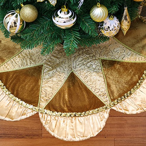 Valery Madelyn 48 Inch Luxury Gold Christmas Tree Skirt with Sequins and Ruffle, Applique Patchwork, Themed with Christmas Ornaments (Not Included)