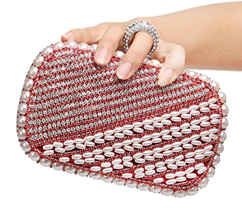Shoulder Handbag Ladies Bag Glitter Gift Diamante Evening Clubs Wedding Women Prom Bag Bridal Pearl Beaded Purse Red For Party Clutch TBfxq5w5Iz