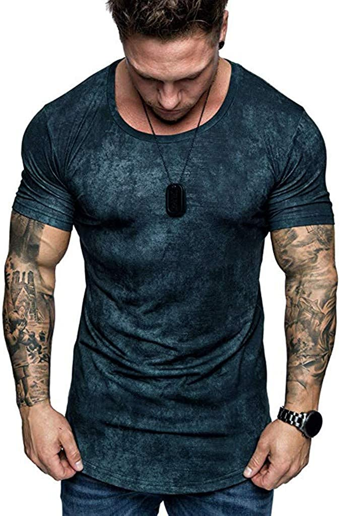 Hmlai Clearance Men T Shirts Fashion Round Neck Short Sleeve Slim Fit Tie-Dyed Big and Tall Gym Bodybuilding Tops Blouses