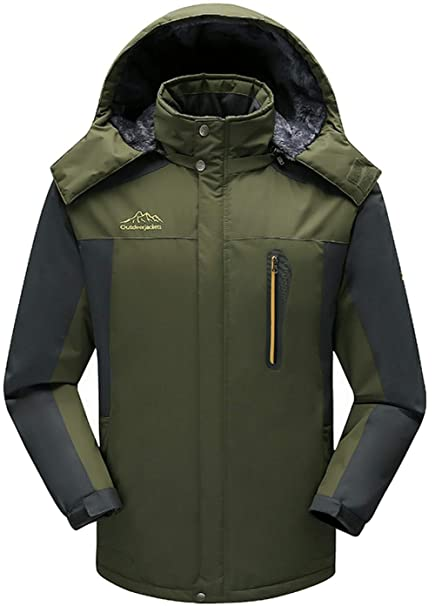f8cbed585b9 FGYYG Mens Autumn Winter Classic Warm Parka Windbreaker Stand Collar Hooded  Detachable Waterproof Mountaineer Jacket Thicken Faux Cashmere Lining  ...