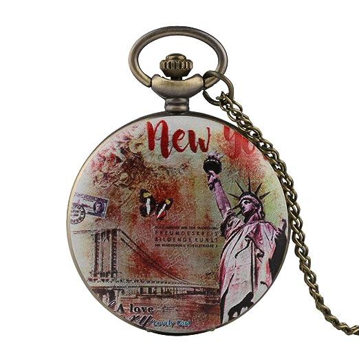 Reloj de Bolsillo para Hombre, diseño de Estatua de la Libertad, Reloj de Bolsillo para niño, Reloj de Bolsillo Digital árabe para Adolescentes: Amazon.es: ...