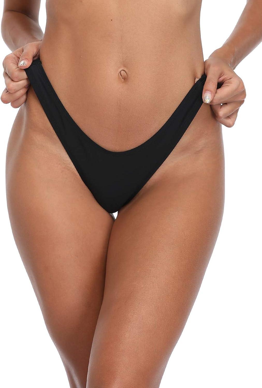 RELLECIGA Womens High Cut Thong Bikini Bottom