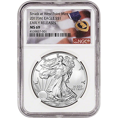 Ngc Certified Ms69 Early Release - 2017 (W) American Silver Eagle (1 oz) Early Releases Purple Heart Label $1 MS69 NGC