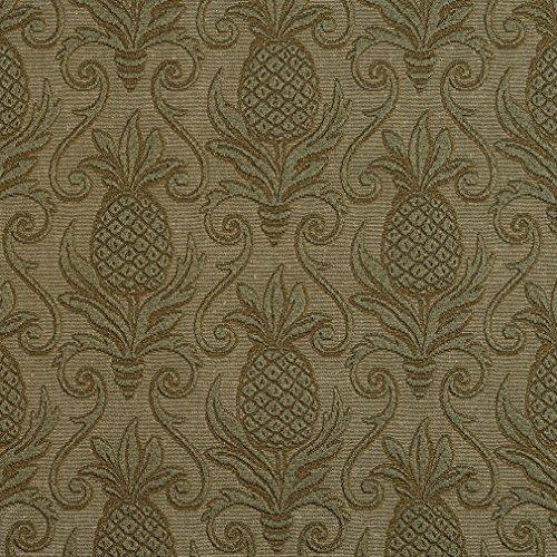 Matelasse Upholstery Fabric (Sage Dark Green Pineapple Beach Brocade Swirl Upholstery Fabric by the yard)
