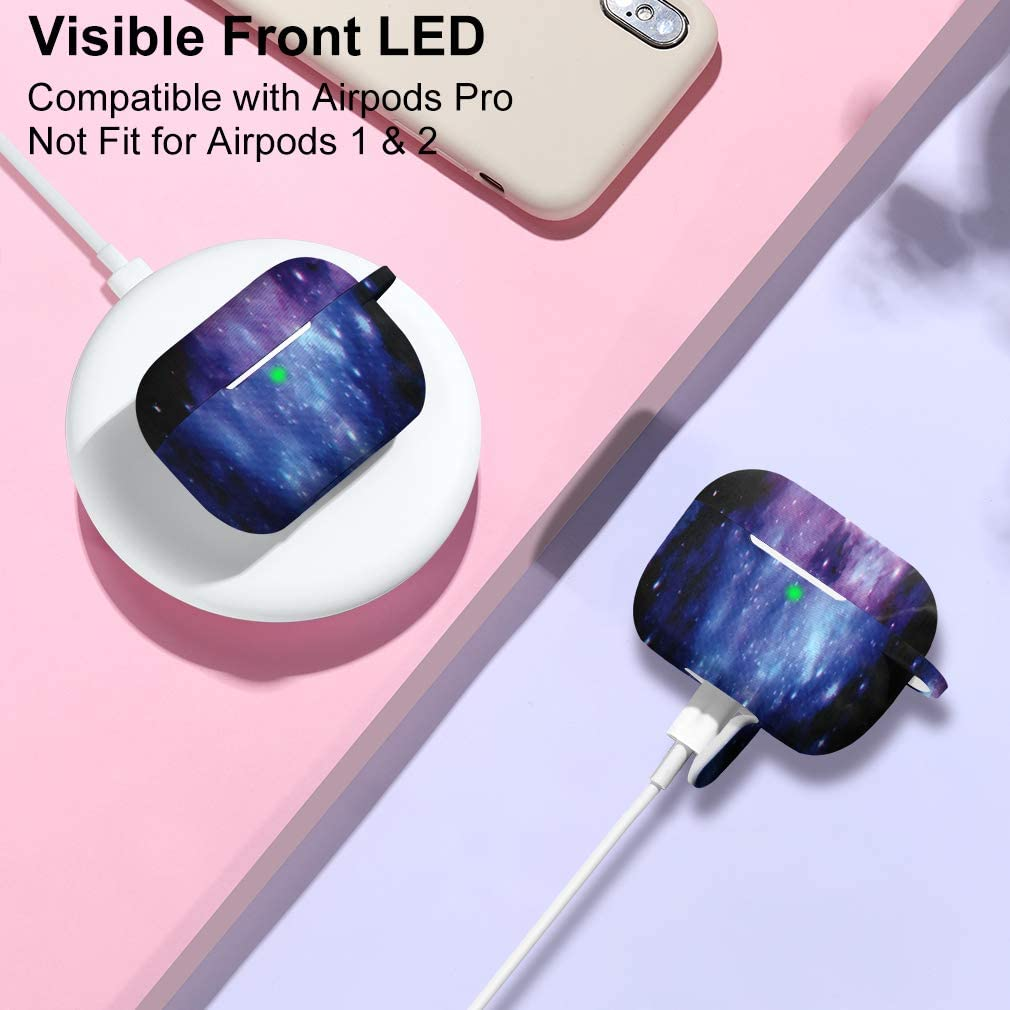Front LED Visible Wepro Airpods Pro Case Silicone Fadeless Pattern Printed Cover Compatible for Apple AirPods Pro 2019 with Keychain Multi Colours