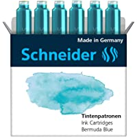 Schneider Pastell Bermuda Blue - Cartuchos de tinta para pluma estilográfica (6 unidades), color azul