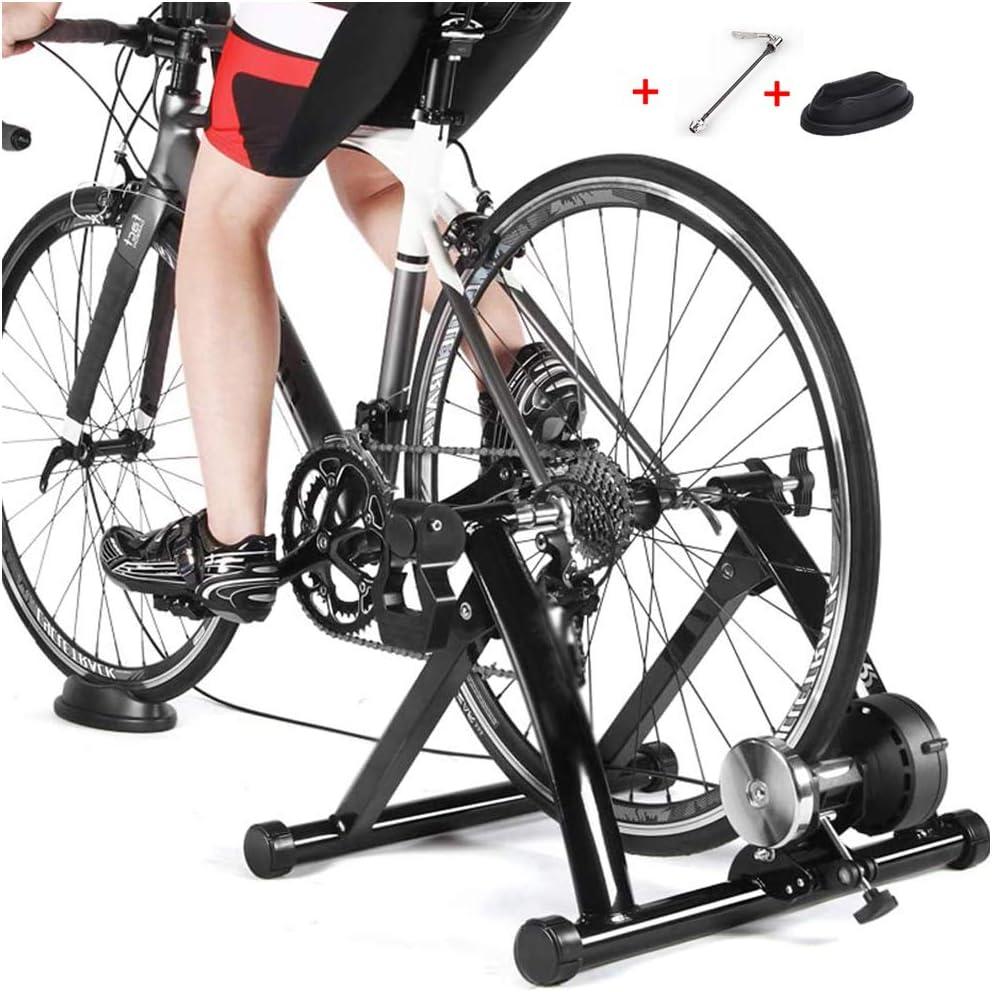 LUCKFY Moto Trainer Soporte - Bicicleta magnética Turbo Trainer w / 6 Niveles de Velocidad del Alambre de Control Ajustador, reducción de Ruido, y la Rueda Delantera Riser,Negro: Amazon.es: Deportes y aire