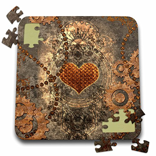 3dRose Heike Köhnen Design Steampunk – Steampunk, heart and gears rusty metal – 10×10 Inch Puzzle (pzl_252732_2)