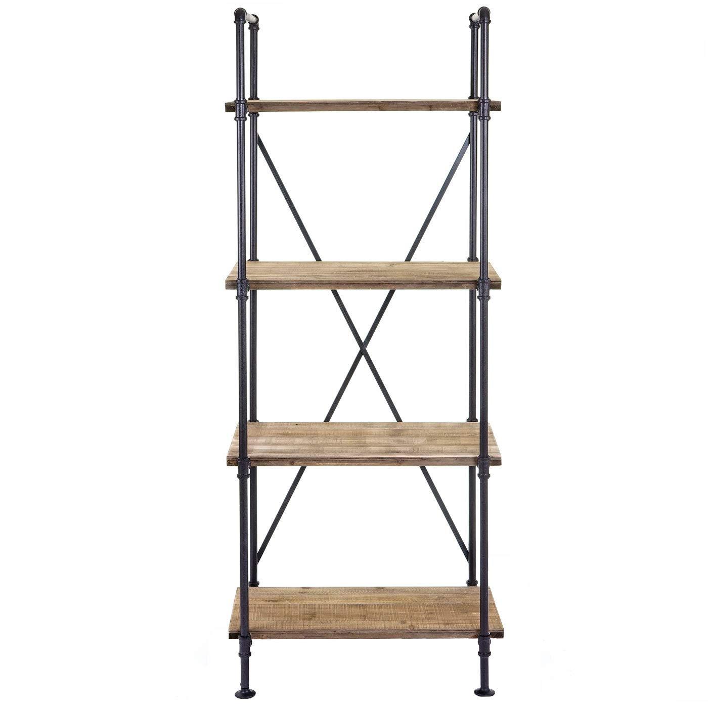 Design Industriel m/étal 156x60x40cm Mendler /Étag/ère ind/épendante HWC-D96 biblioth/èque 4 Fonds de rayonnage
