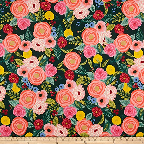 Cotton + Steel Rifle Paper Co. English Garden Juliet Rose Canvas Fabric, Navy, Fabric By The Yard