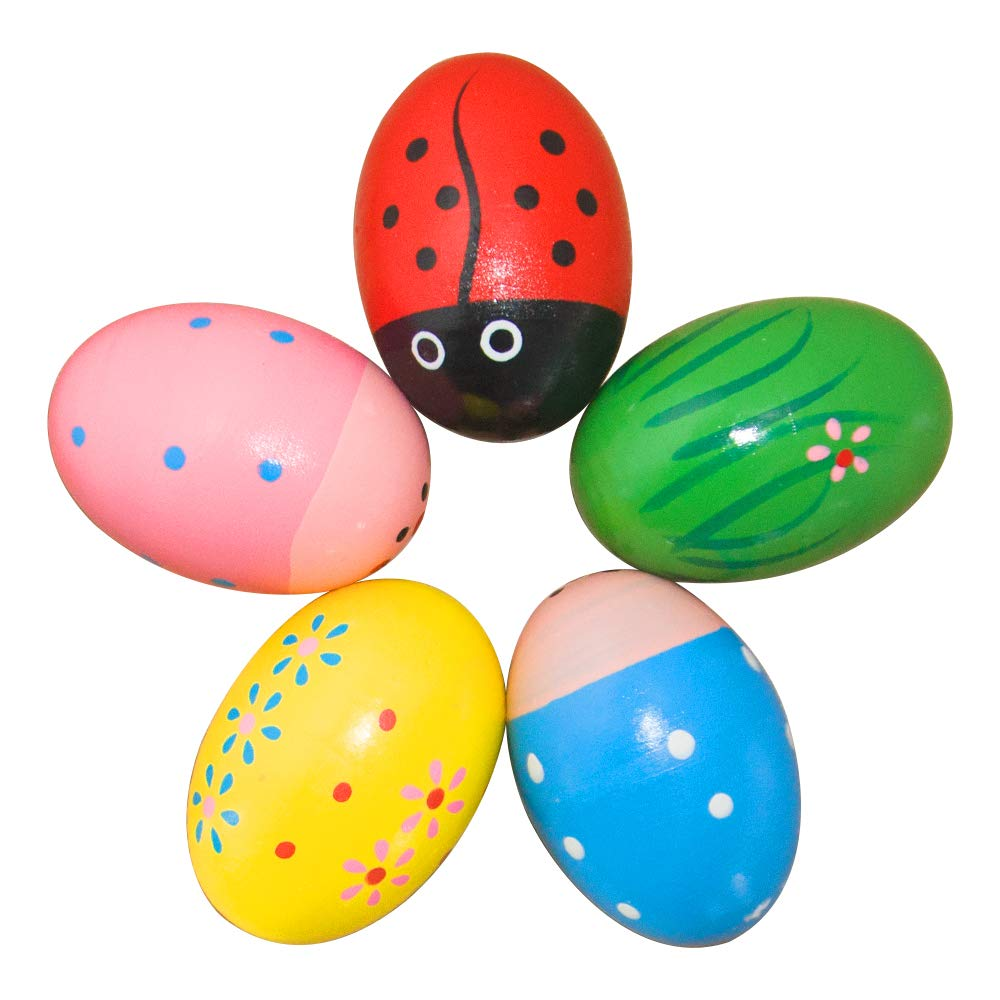 jouets de P/âques pour enfants Lot de 6 /œufs musicaux en bois de maracas couleurs assorties