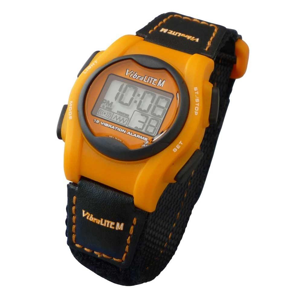 VibraLITE Mini 12-Alarm Vibrating Watch - Black & Orange